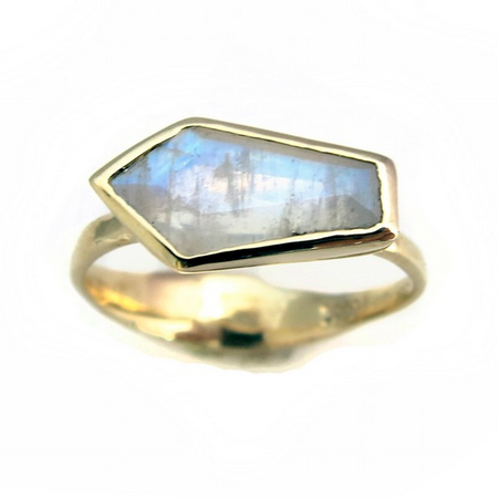 Gold Moonstone Coffin Ring