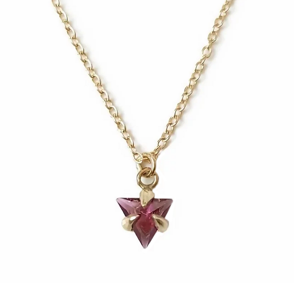 Trillion Shape Amethyst Gold Necklace