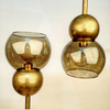 Smoke Glass & Brass Double Bubble 8""