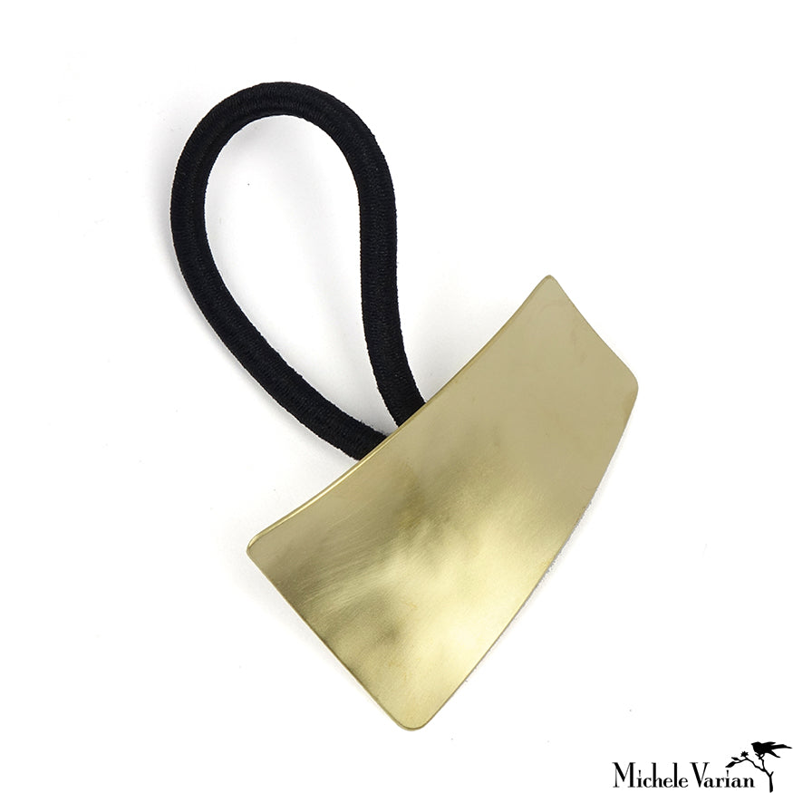 Sculptural Brass Ponytail Holder Rectangle