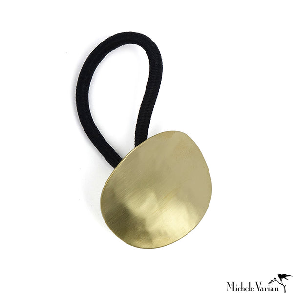 Sculptural Brass Ponytail Holder Round