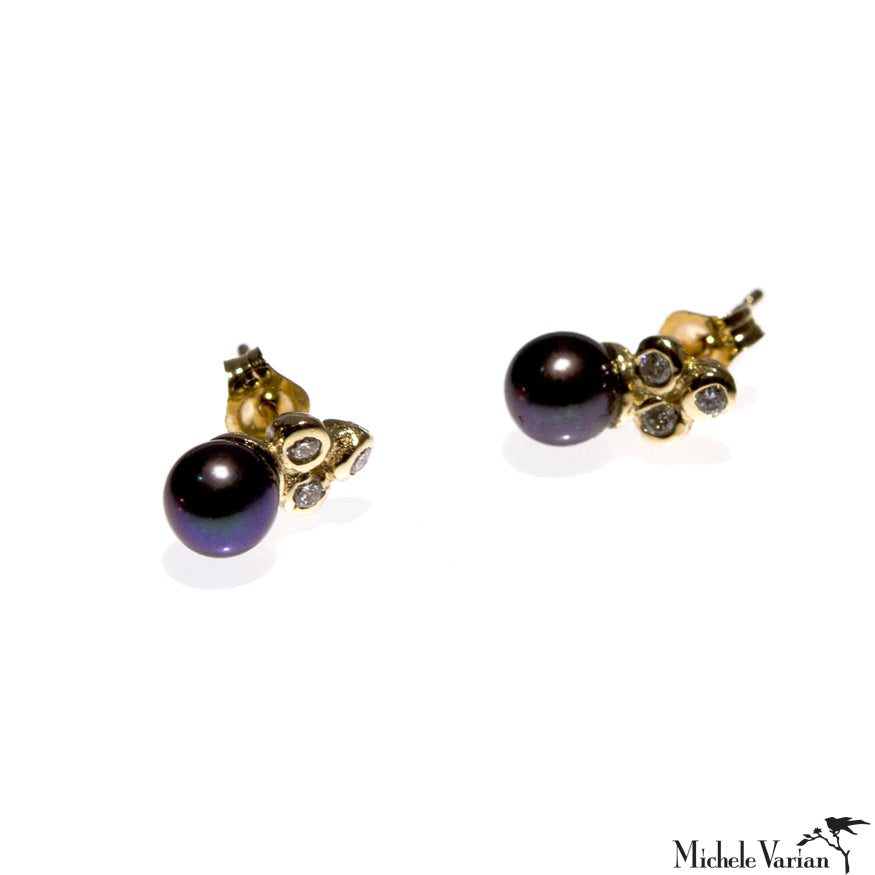 Black Pearl and Diamond Sea Anemone Gold Stud Earrings
