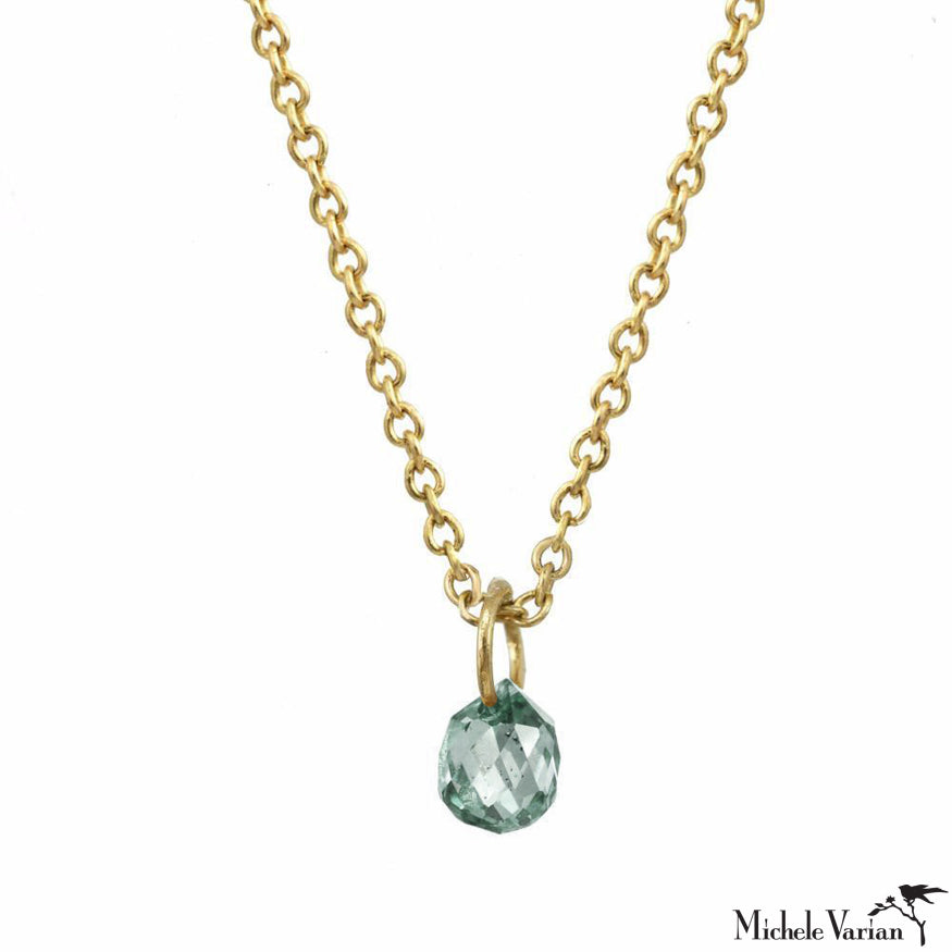 Gold Sea Green Sapphire Constellation Necklace