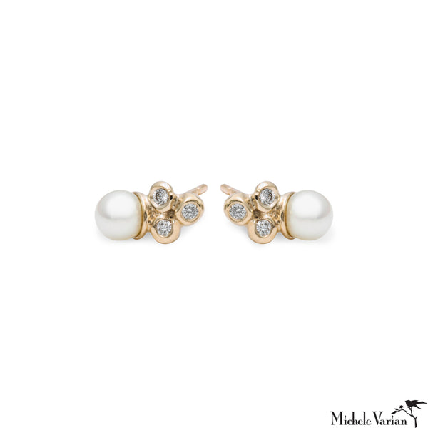 Akoya Pearl and Diamond Sea Anemone Gold Stud Earrings