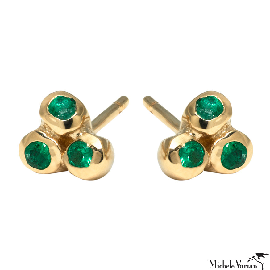 Emerald Trio Anemone Gold Stud Earrings