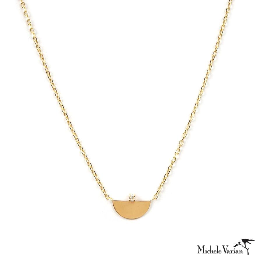 Dainty Half Moon and Diamond Gold Necklace