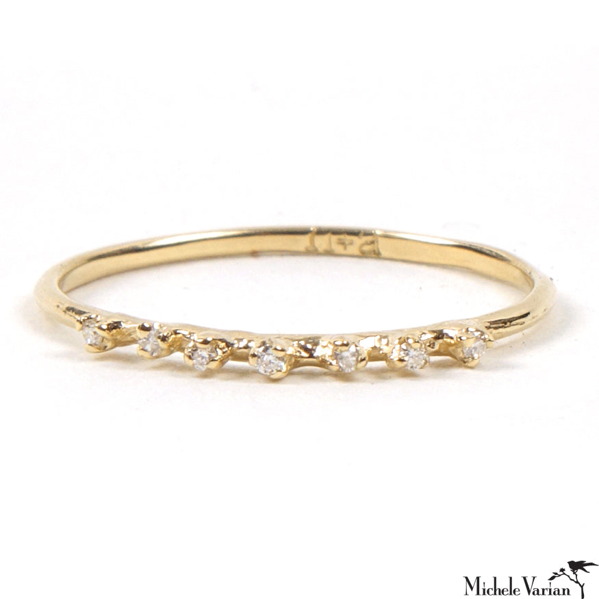 Tiny Gold Seven Diamond Ring