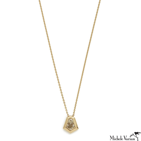 Shield Diamond Shape Gold Necklace