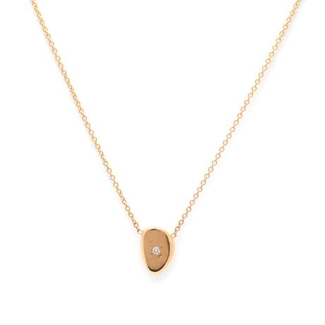 Shinny Diamond Pebble Gold Necklace