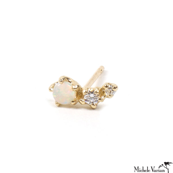 Single Shooting Star Opal and Gold Stud Earring