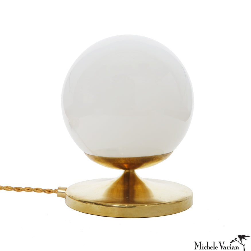 DISCONTINUED Brass Shorty Globe Table Lamp