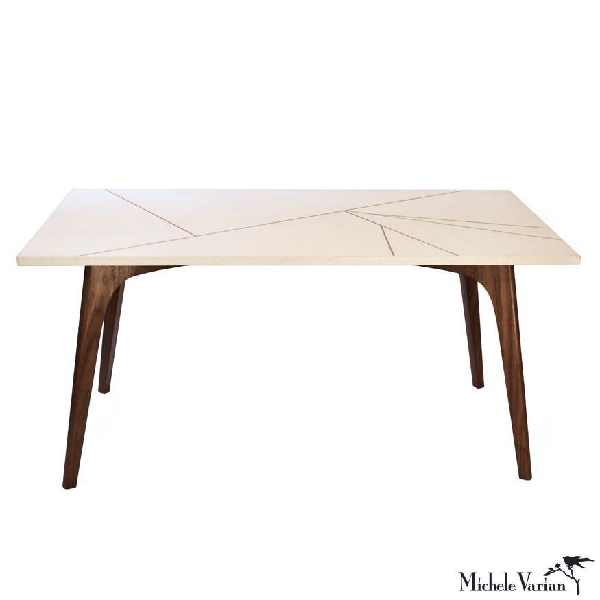 Sensational Concrete And Wood Table With Brass Inlay Michele Varian Shop Spiritservingveterans Wood Chair Design Ideas Spiritservingveteransorg