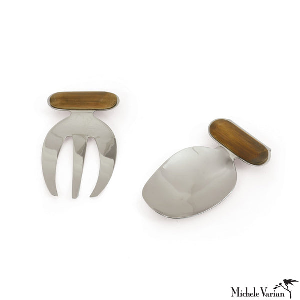 Wood and Nickel Miro Hand Salad Servers
