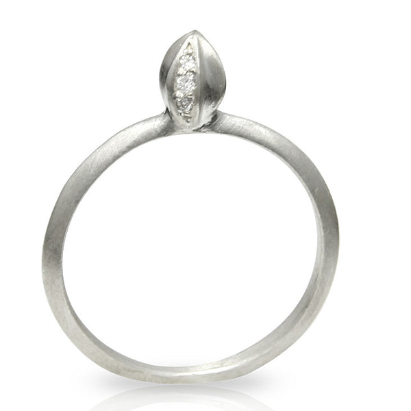 Silver Bud Ring With Diamonds