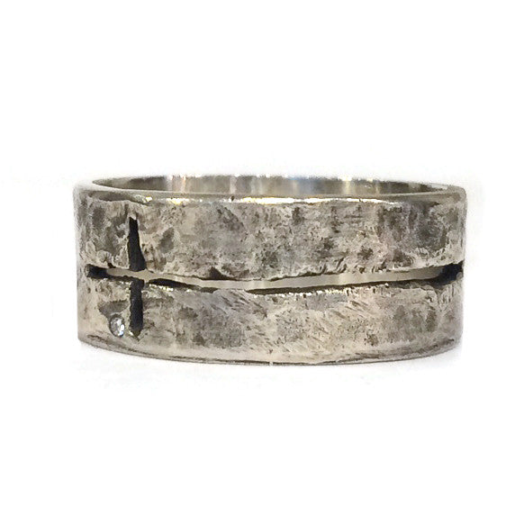Silver Cross Ring With Diamond