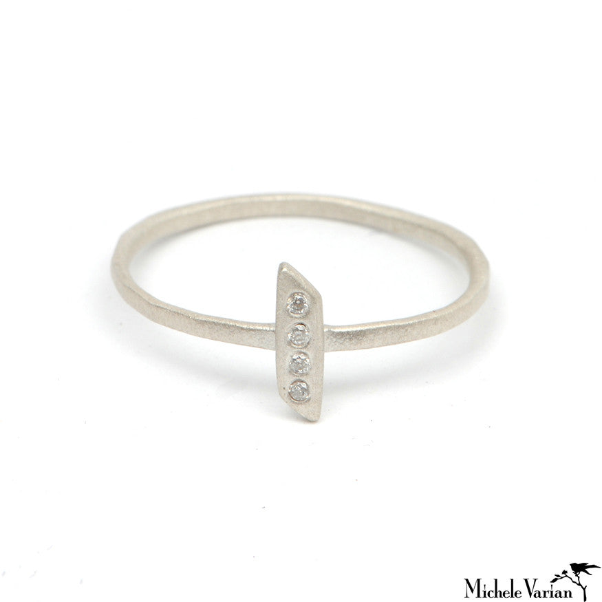 Silver and Diamond Parallelogram Ring