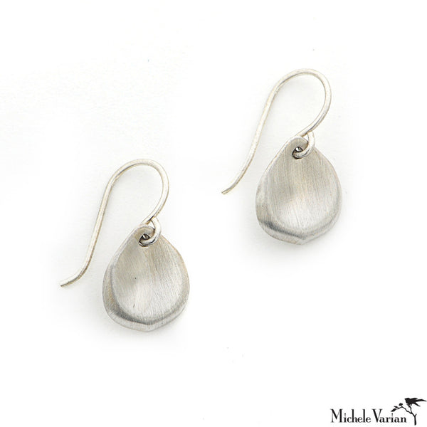 Matte Silver Petal Earrings