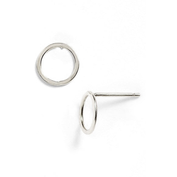 Sterling Silver Round Mini Stud Earrings