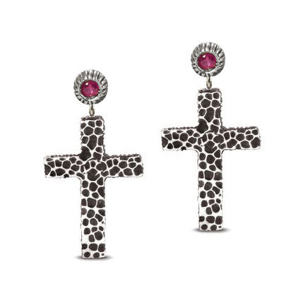 Hammered Silver Cross Earrings With Ruby