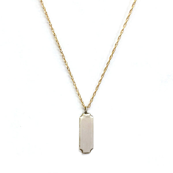 Silver Rectangle Charm Necklace