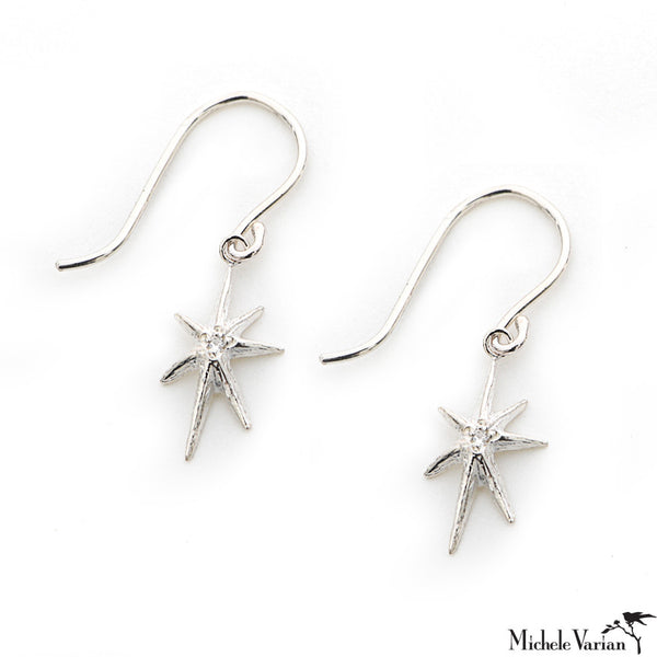Sterling Silver Diamond Star Drop Earrings
