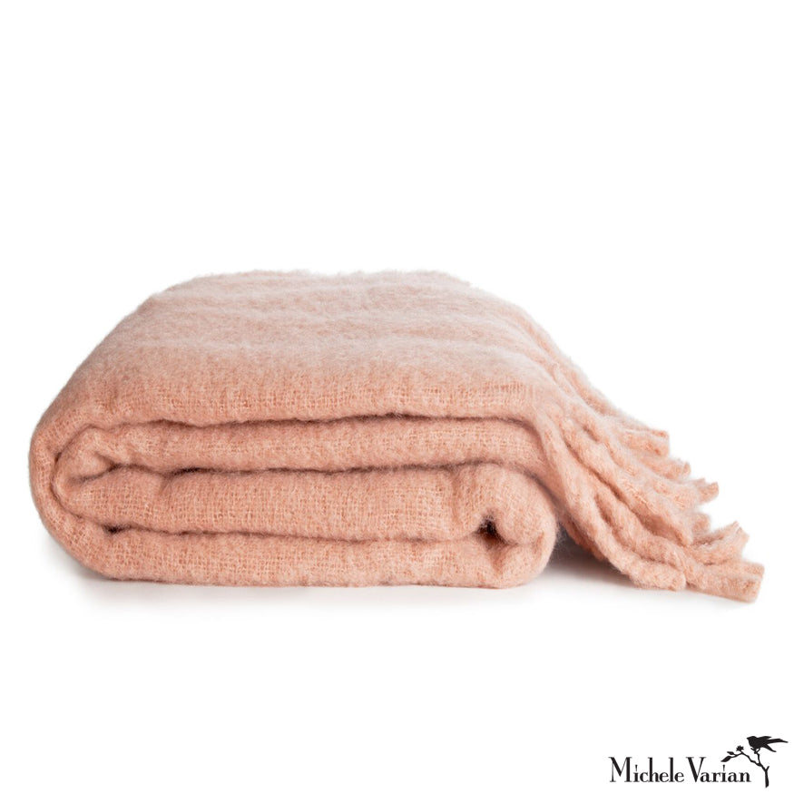 Woven Blush Mohair Throw with Tassel Fringe