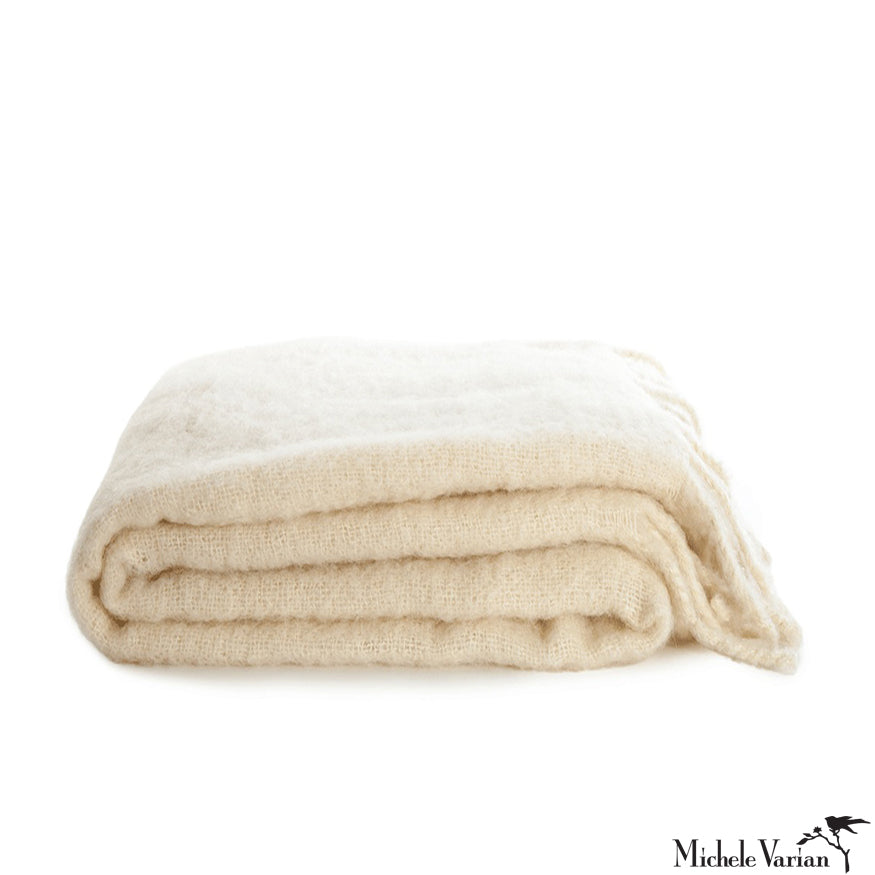 Woven Ivory Mohair Throw with Tassel Fringe