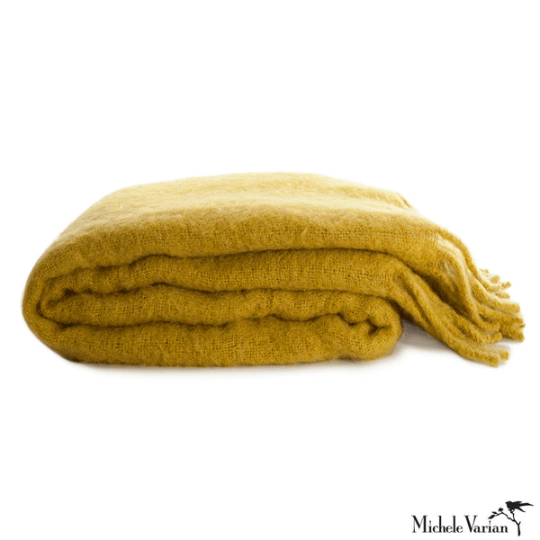 Woven Mustard Mohair Throw with Tassel Fringe