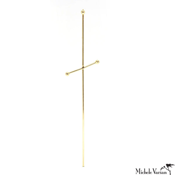 Simple Three Pointer Gold Needle Earring