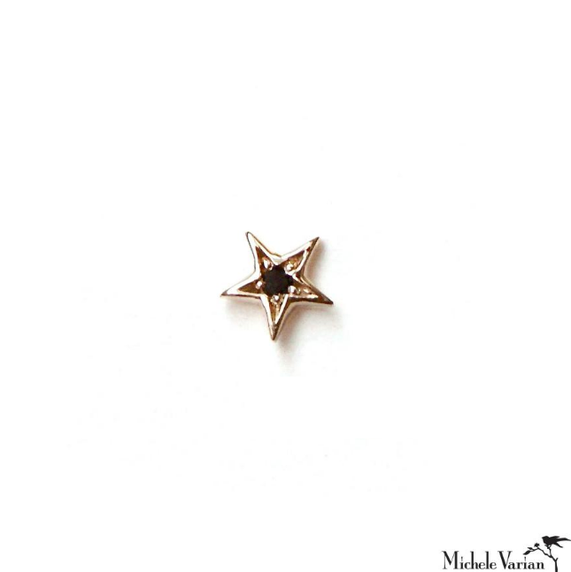 SINGLE Teeny Black Diamond Star Gold Stud Earring