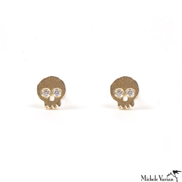 Tiny Skulls Diamond Stud Earrings