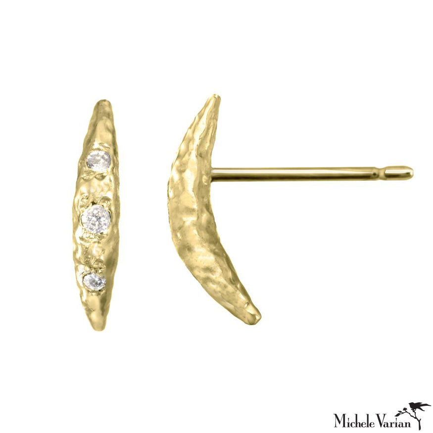 Gold Crescent Moon Studs Small
