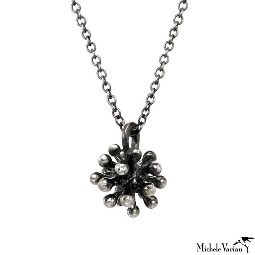 Oxidized Silver Burst Necklace