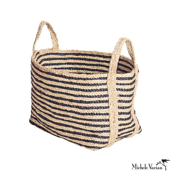 Small Natural and Charcoal Striped Jute Basket