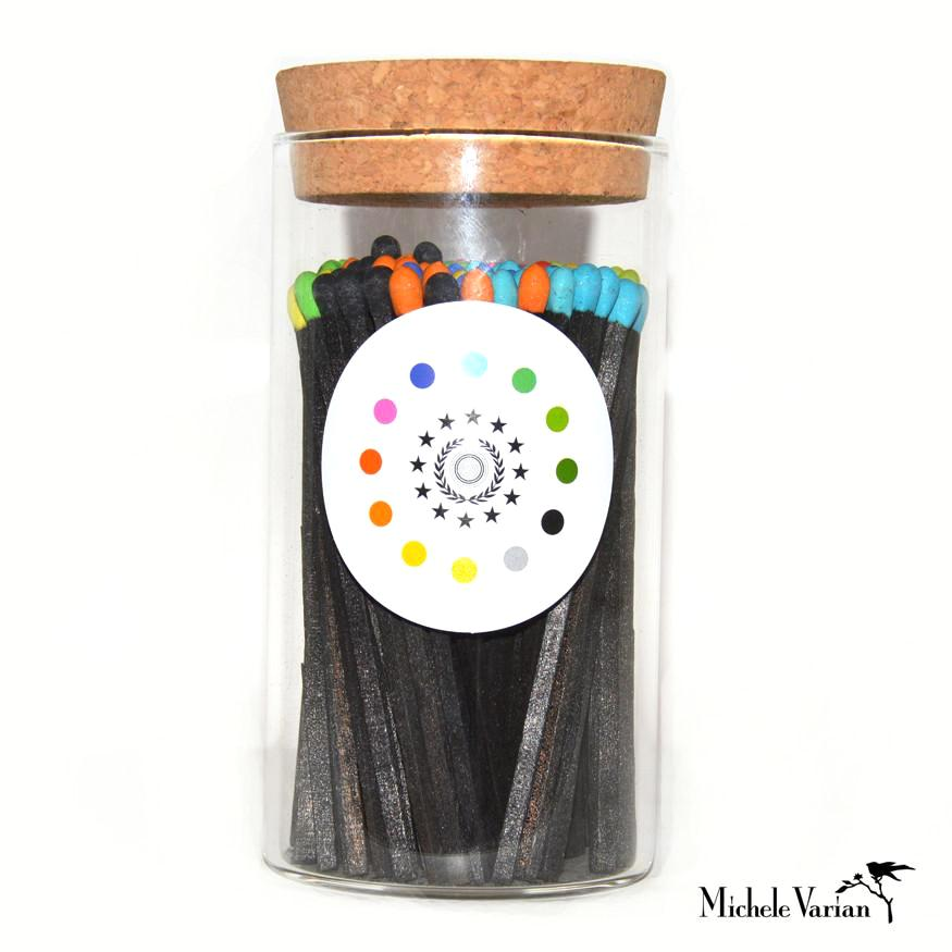 Short Black Wood Matches with Colorful Strikes