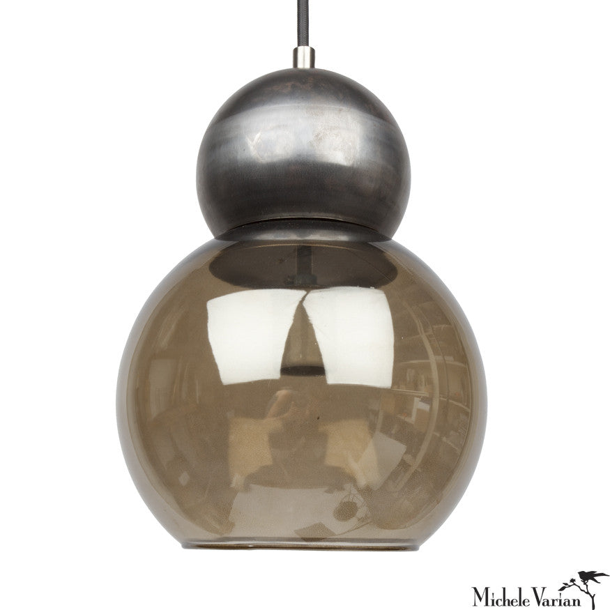 Glass and Steel Double Bubble Light Fixture Large 8 inch