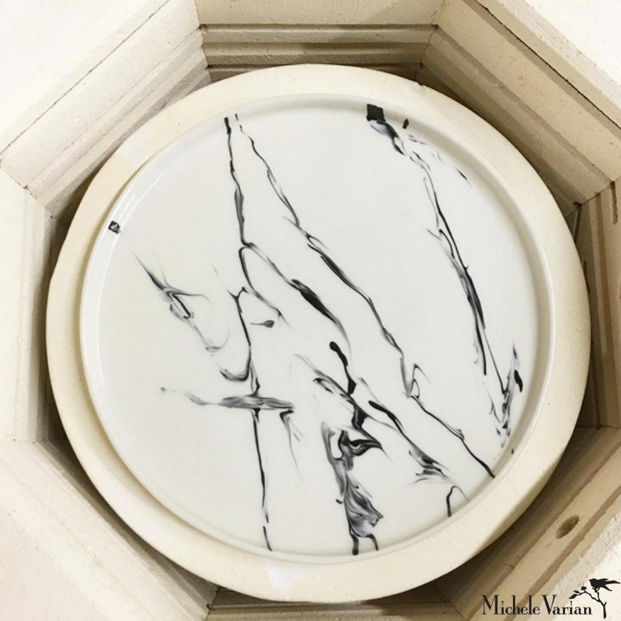 Smoke Marbled Porcelain Serving Platter 13 inch