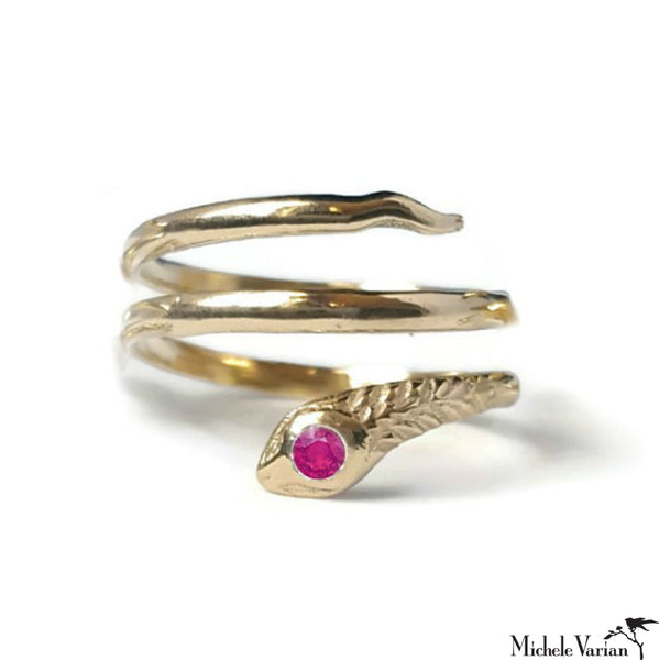 Coil Snake with a Ruby and Gold Ring