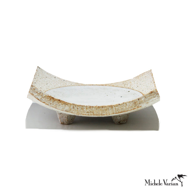 White Glazed Full Moon Stoneware Dish