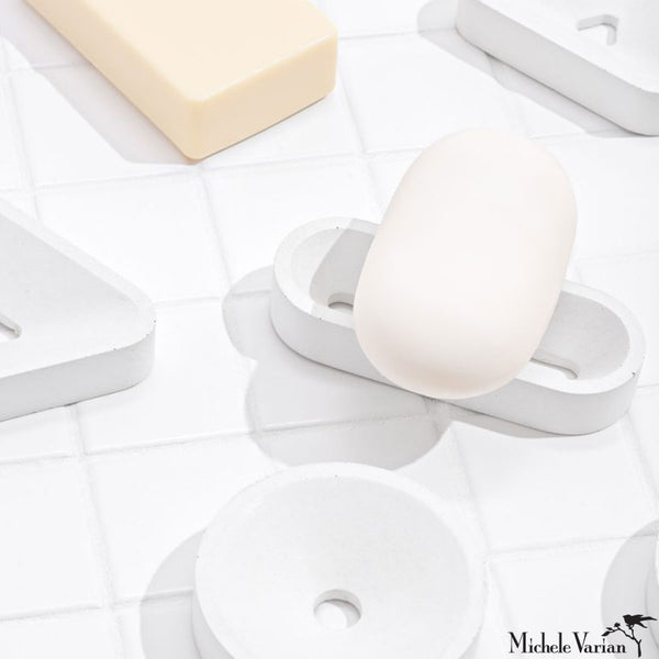 White Soap and Sponge Stands