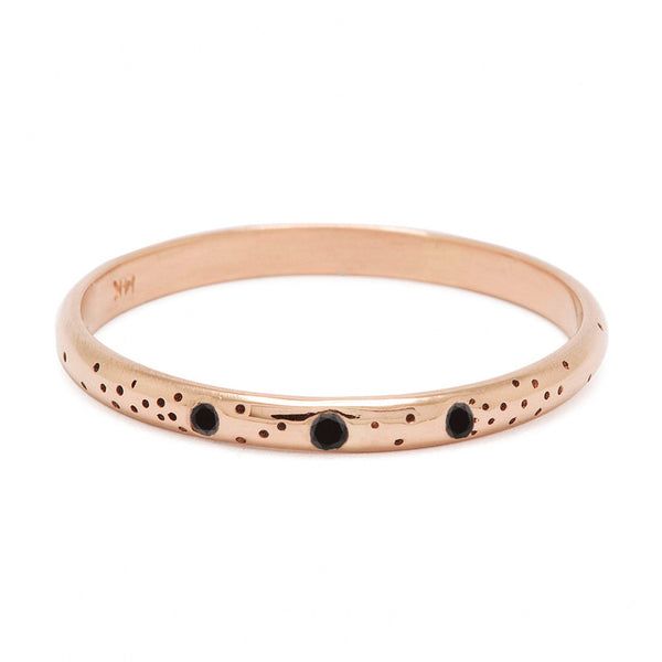 Rose Gold Black Diamond Speckle Band