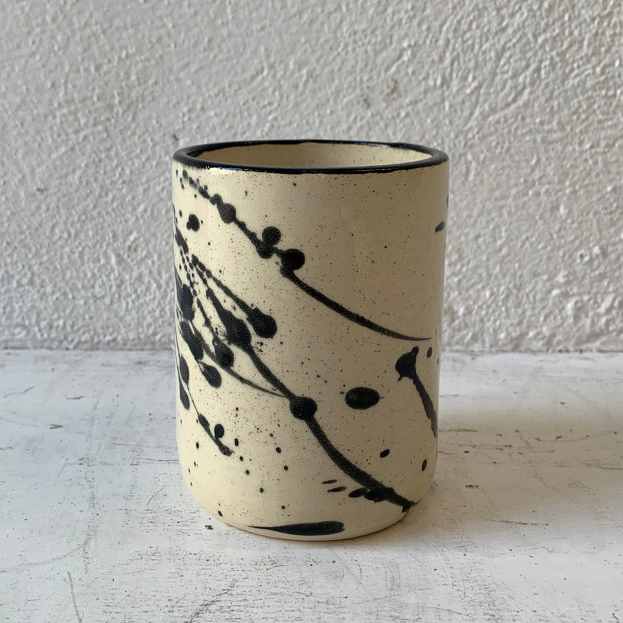 Stoneware Splatter Mug with Black Trim