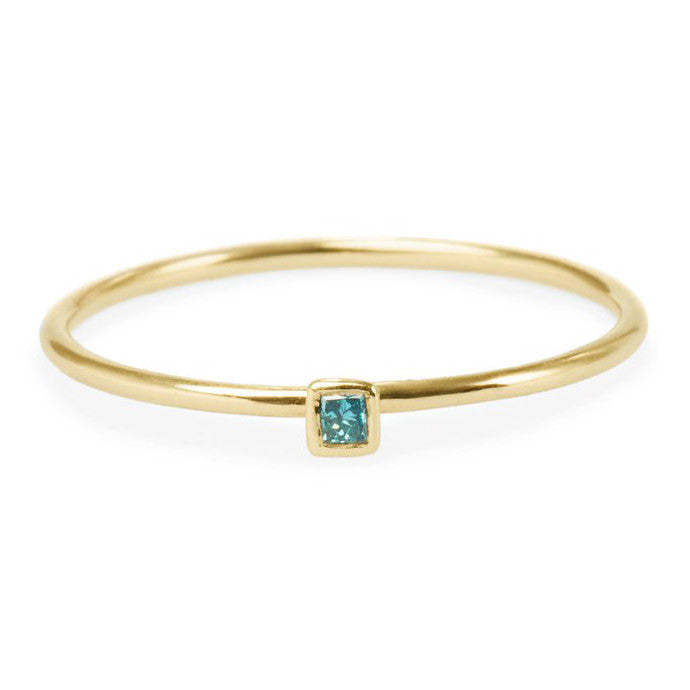 Tiny Square Blue Diamond Friendship Ring