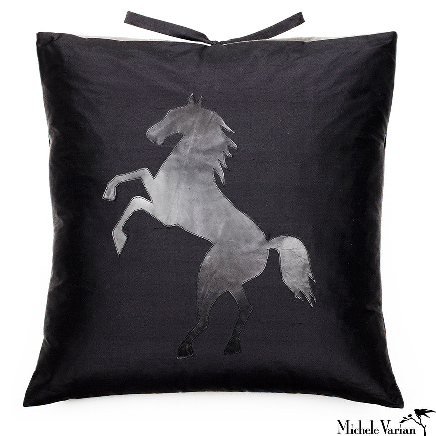 Silk Applique Pillow Stallion Black 22x22