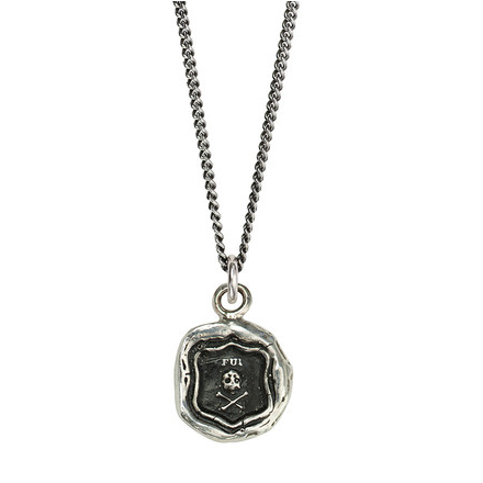 Silver Wax Seal Skull Necklace