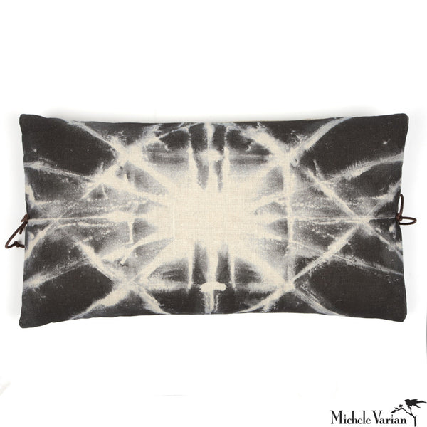 Printed Linen Pillow Starburst Gray 12x22