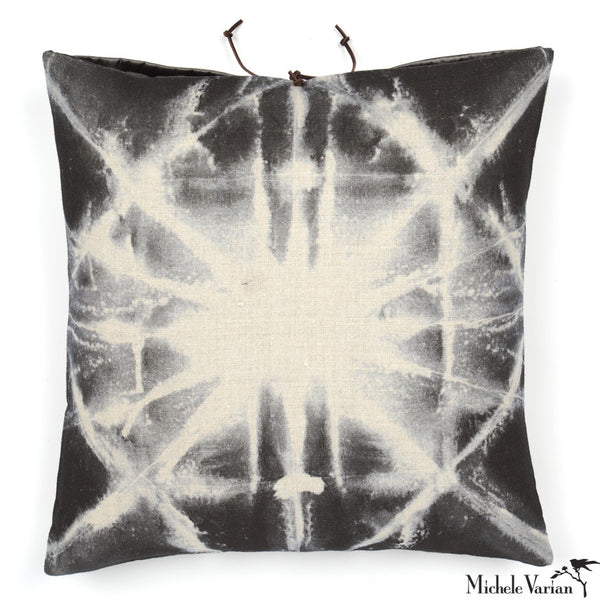 Printed Linen Pillow Starburst Gray 16x16