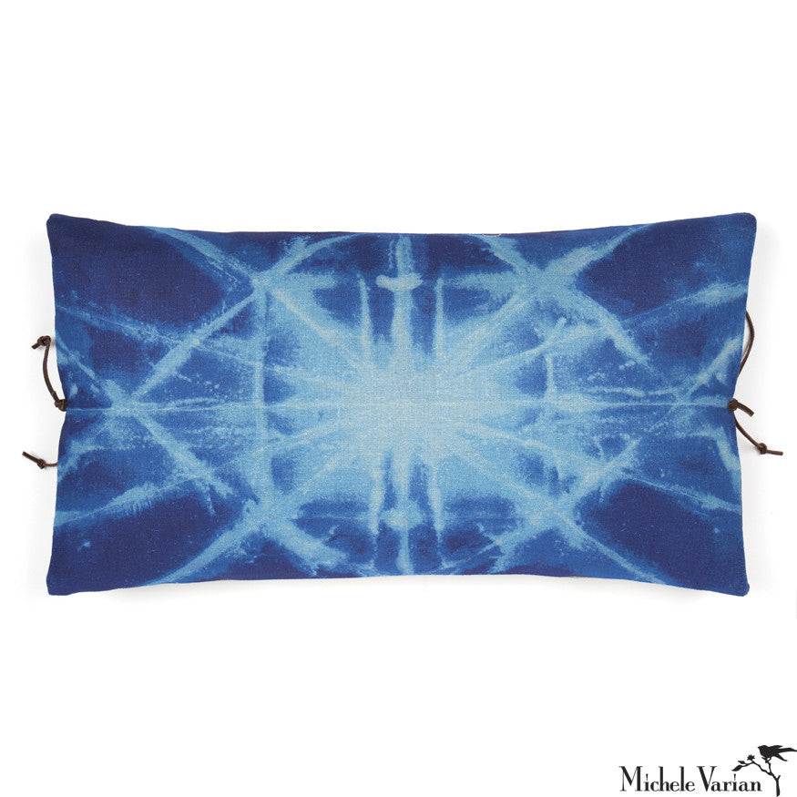 Printed Linen Pillow Starburst Blue 12x22