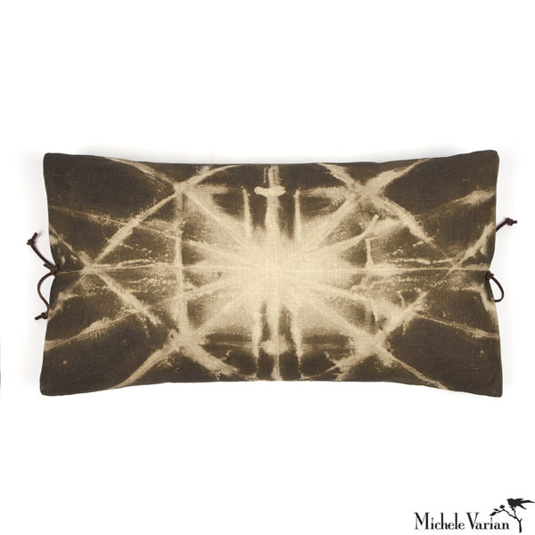 Printed Linen Pillow Starburst Olive 12x22
