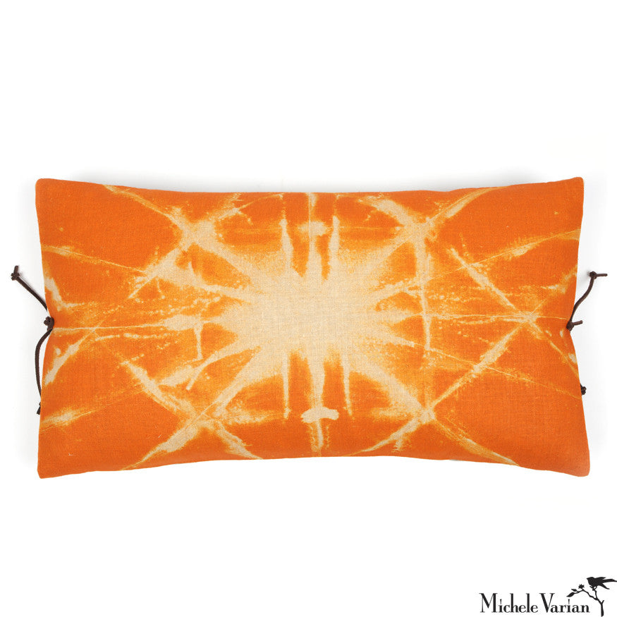 Printed Linen Pillow Starburst Orange 12x22